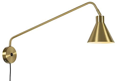 it's about RoMi LYON Wandleuchte mit Schalter, Wandlampe mit Stecker, für LED und Glühbirne E27 (Gold)