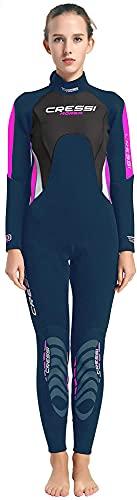 Cressi Morea Lady Wetsuit Full 3mm Combinaison Humide Monopièce 3 mm Femme, Bleu/Gris/Argent, XS/1