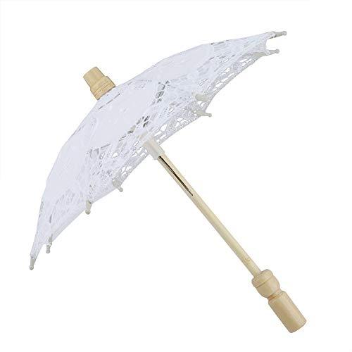 Paraguas de encaje de boda blanco/beige, Paraguas de encaje + Mango de madera, Paraguas artesanal Paraguas de novia Encaje Algodón Bordado Sombrilla hecha a mano Paraguas Suministros de boda(Blanco)