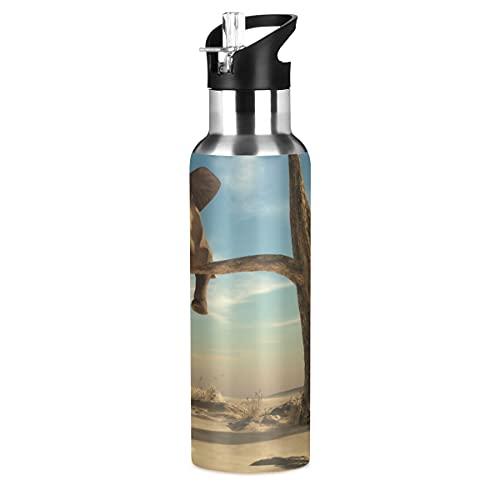 ADKing - Botella de agua con diseño de elefante animal y madera de 20 onzas para deportes a prueba de fugas, botella de agua sin BPA, acero inoxidable