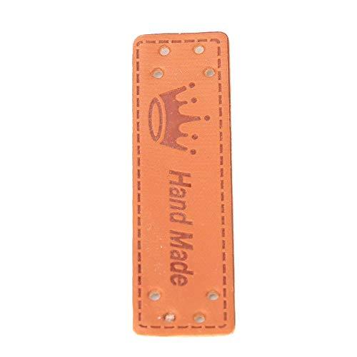 Voluxe Etiquetas de la Ropa, Etiquetas de la Ropa del Cuero del Cuero de la PU para el suéter para Jean(20 Crown Handmade Leather Labels)