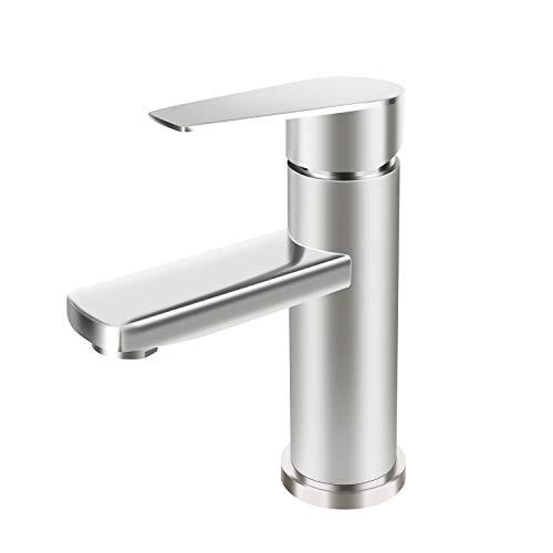 SkyGenius Single Hole Bathroom Faucet, Stainless Steel Bathroom Faucet Brushed Nickel…