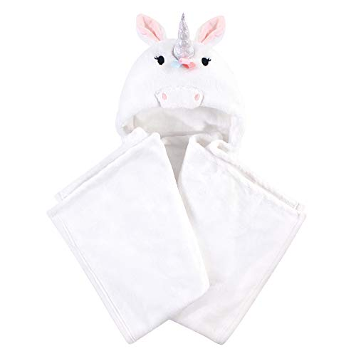 Hudson Baby Unisex Baby and Toddler Hooded Animal Face Plush Blanket, Rainbow Unicorn, One Size