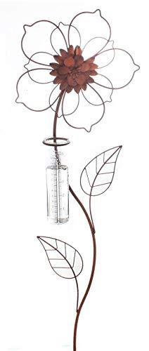 Rost Deko Metall Stecker. Blume mit REGENMESSER Niederschlaggsmesser. Ca 100 cm. Art.: 70425 1
