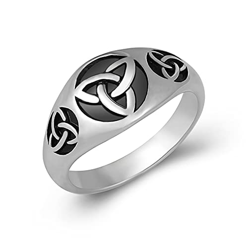 HZMAN Triquetra Trinity Knot Stainless Steel Irish Celtic Knot Ring Size(7-13) (Silver&Black, 10)