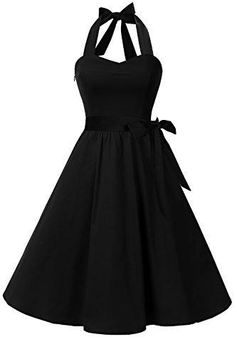 Topdress Women's Vintage Polka Audrey Dress 1950s Halter Retro Cocktail Dress Black L