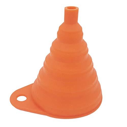one by Camamoto cod 77549827 Embudo universal portátil de silicona plegable,color naranja transferencia de líquidos, aceite, gasolina, mezcla, ideal para moto, scooter, casa y jardinería