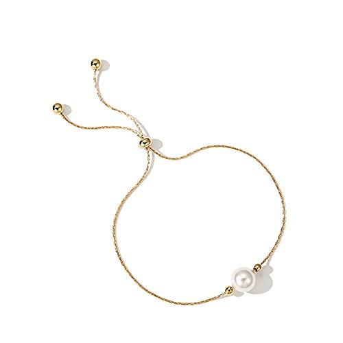 JIEZ Aleación de joyería/Perlas de imitación Pulsera de Perlas Pulsera Ajustable Mujer 9.8 'con Ajustable