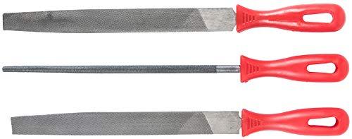Werkzeyt Feilensatz 3-teilig - Geeignet für sämtliche Metalle - 200 mm Feilenlänge - Kunststoff-Griffe - Hochwertige Carbonklingen / Rundfeile / Halbrundpfeile / Flachstumpffeile / CPT966903