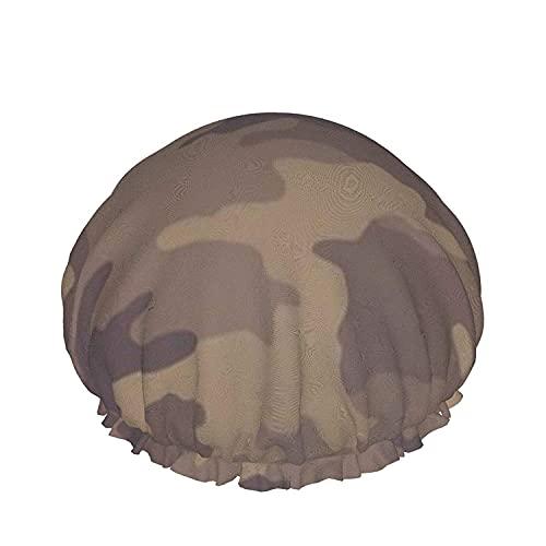 Gorro De Ducha De Color Caqui Camuflaje Reutilizables Baño Sombrero De Pelo, Elástica Reutilizables De Baño Sombreros Para Mujer Impermeable & Ajustable