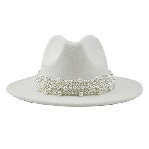 NC Chapéu Fedora para Homens E Mulheres, Clássico E Elegante Chapéu de Jazz de Aba Larga Sun-Protect Sombreros Chapéu Cavalheiro Britânico com Faixa Deco - Branco