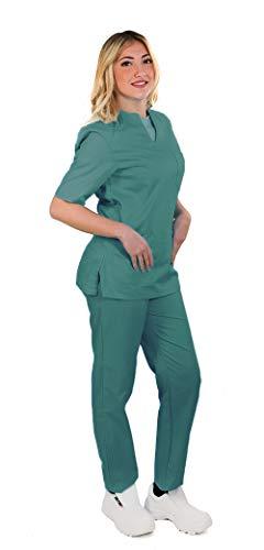 TCD possibilità di Ricamo: Completo Divisa Sanitaria ospedaliera da Donna, Scollo a V, Uniforme per Infermiere, operatore Sanitario, odontotecnico (U15 Verde CHIRURGIA Ricamo No, S)