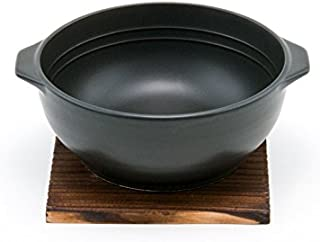 Hinomaru Collection Quality Ceramic Stovetop Pot Bowl with Handle and Wood Base Casserole 32 fl oz Direct Heat Earthenware...