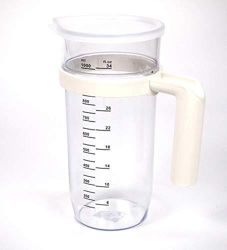 Vaso batidora Transparente 1 lito | Plástico Jarra traslucida | Vaso medidor | 205mm x 75 mm | Universal