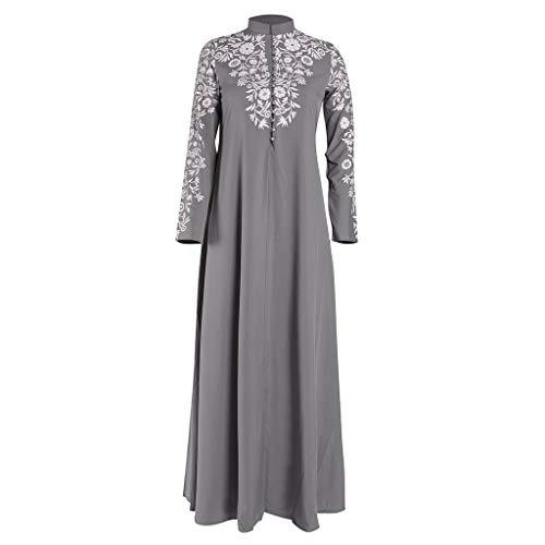 Lazzboy Muslim Maxi Kleid Trompete ärmel Abaya Lange Robe Kleider Tunika Gürtel Frauen Moslems Lose Einfarbig Kleidung Araber Kaftan Dubai(Grau,L)