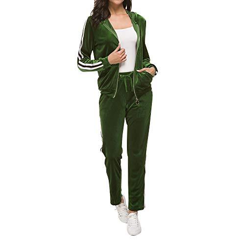 MINTLIMIT Hausanzug Damen Freizeitanzug Samt Jogginganzug Trainingsanzug mit Reißverschluss und Satinband Velours Nicki Schlafanzug Nicki-Anzug