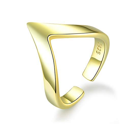GDDX 925 Sterling Silver 14K Gold Chevro Love Ring Adjustable V Shape Finger Open Band Thumb Rings for Women (gold)
