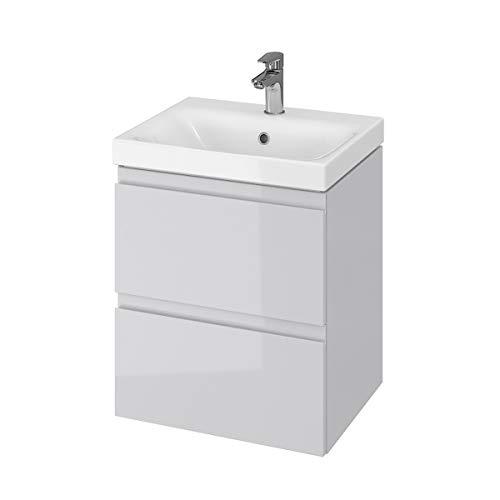 VBChome Badmöbel 50 cm Grau Waschbecken mit Unterschrank Waschtisch 2-Schubladen Moduo