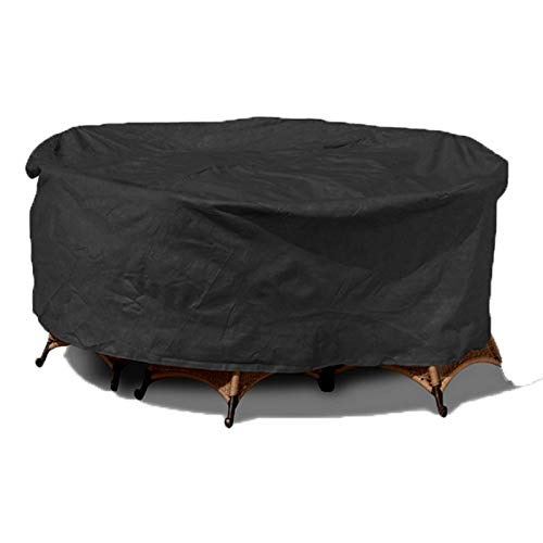 Garden Furniture Covers 210D Heavy Duty Oxford Fabric Windproof Waterproof, Round Outdoor Patio Table Cover, 128cmx71cm/50in*28in