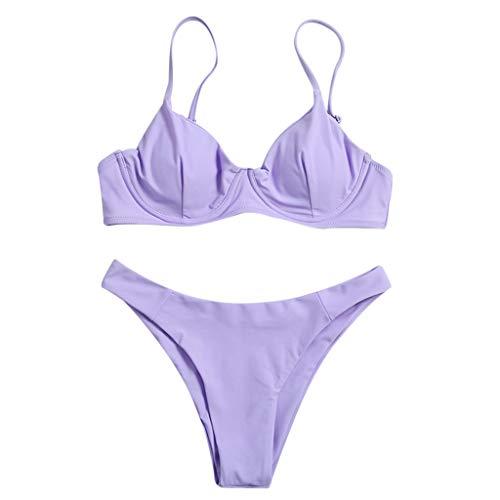 Sommer Bikini Damen Set 2 Teilig Sexy Brazilian Oberteil Spaghetti-Träger Bademode Sets Push Up Zweiteiliger Badeanzug Tanga Beachwear Swimsuit
