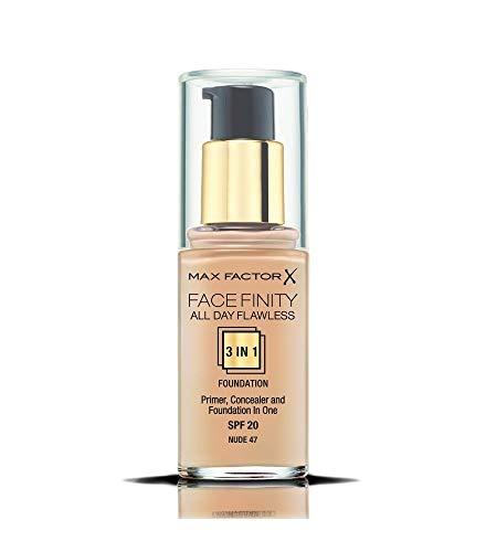 Max Factor Facefinity All Day Flawless 3 in 1 Foundation in Nude 47 – Primer, Concealer & Foundation in einem – Für ein perfekt mattiertes Finish – 1 x 30 ml
