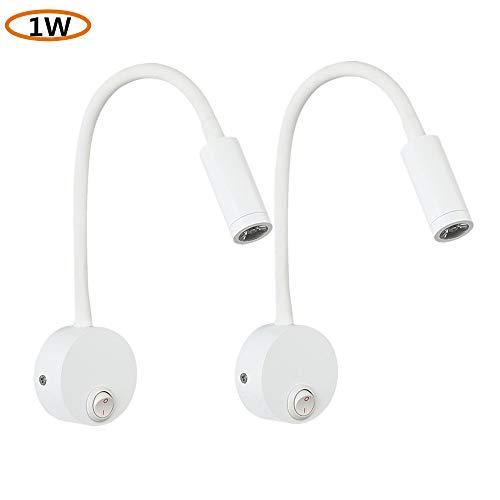 Casuwind 2 stuks mat zwart draaibaar verstelbare zwanenhals LED leeslamp draaibaar wandlamp wandlamp bedlamp met schakelaar 1W warm wit voor slaapkamer