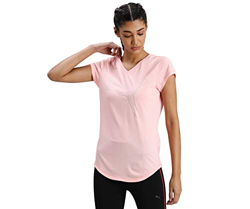 PUMA Train Favorite tee Camiseta, Mujer, Elektro Peach Heather/Cat Outline, L