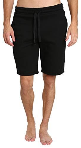 LOUNGEHERO Mens Pajamas Jammies Short Pockets Black Medium