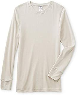 JOE BOXER Men's Thermal Crew Neck Long Sleeve Shirt Off White Small, Medium, Large