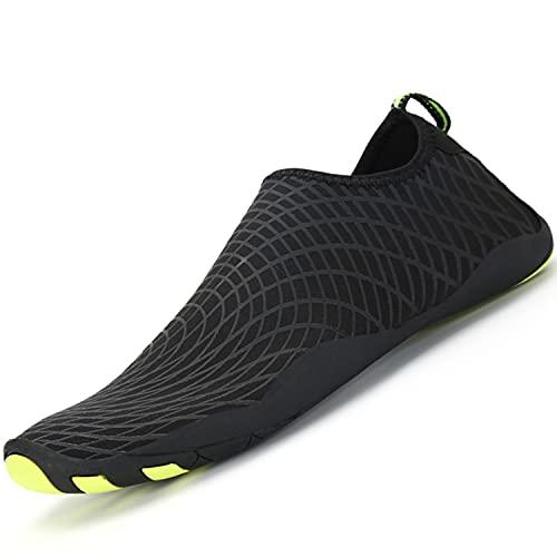 Escarpines de Agua Antideslizante Secado Rápido Zapatos de Natación Playa Surf para Unisex Hombre Mujer, Negro 40