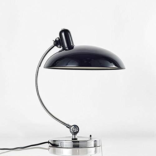 Tischlampe E27 Bauhaus Design Vintage Nachttischlampe Verstellbare Tischleuchte Aluminium Lampenschirm Eisenlampenmast Schlafzimmer Nachttisch Leseleuchte Mit Taste Schalter Schreibtischlampe,Schwarz