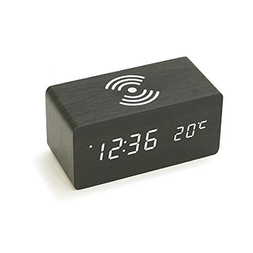 Rabbfay Multifunción Inalámbrico Cargador con Alarma Reloj y La Temperatura Monitor, 4 en 1 Cargando Estación Muelle Compatible por iWatch y iPhone 11 / XS/XR/X / 8,Negro