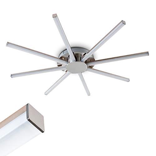 LED Deckenleuchte Georgina, moderne Deckenlampe aus Metall/Kunststoff in Chrom, Ø 65cm, 8-flammig, 24 Watt, 2400 Lumen, Lichtfarbe 3000 Kelvin (warmweiß)