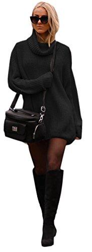 Mikos Damen Strickpullover Sweater Rollkragen Pullover Jumper Strick Pulli Oversize (648) (Schwarz)
