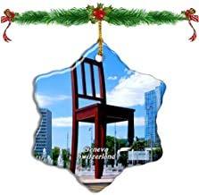 Kysd43Mill Schweizer Stuhl-Skulptur, Genf, Weihnachtsschmuck, Porzellan, Sternform, doppelseitig, Weihnachtsbaumschmuck, Andenken, Geschenke für Kinder, neue Paare