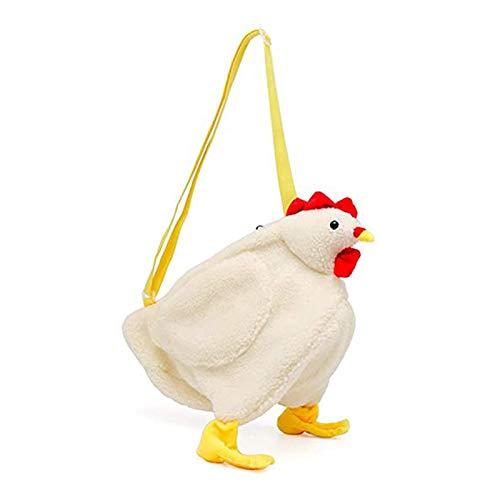 Duomu Bolsa en forma de pollo, cartera de cuerpo cruzado con cremallera, bolsa de cuerpo cruzado en forma de pollo, bolsa de hombro linda de terciopelo suave de la señora, regalo de los niños