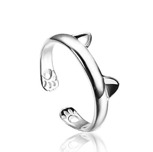 WSSVAN Anillo, Lindo simple gato orejas abierto anillo plateado plateado PENDIENTEs CAT anillo pulgar anillo de bobinado ajustable anillo de joyería regalo (Plata)