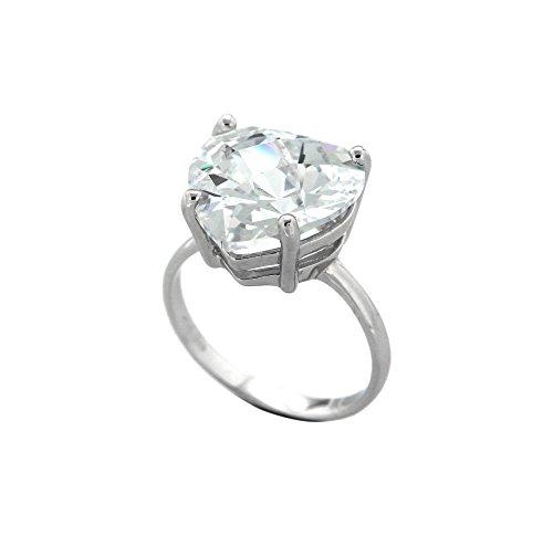 Bijoux pour tous Anillos Mujer Plata Plata de Ley (925/1000) circón Corte Heart