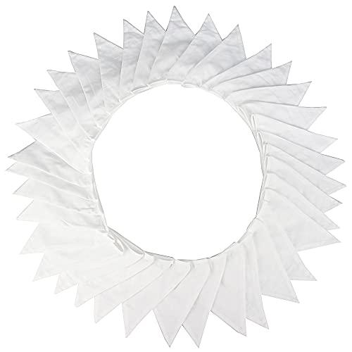G2PLUS 10M Stoff Wimpelkette, Schöne Wimpelgirlande Stoffgirlande Weiß Girlande Wimpel mit 36stk Anhänger Fahnen für Hochzeits Geburtstag Party