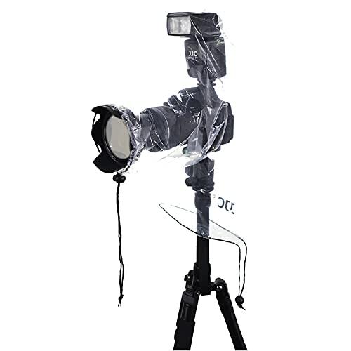 JJC 2枚入 カメラレインコート 小型 DSLRカメラ と ミラーレスカメラ ストロボ 付ける時用 Canon EOS R5 R6 Kiss M M2 X10i X10 X9i X9 X8i X8 X7i X6i Nikon Z7II Z6II Z5 Z50 D5600 D5500 D5300 D3500 D3400 D3300 Sony A6600 A6500 A6400 A6300 A6100 A6000 など適用 カメラレインカバー 最大25cm レンズ適用 雨天 雪 カメラ保護 三脚アクセサリ