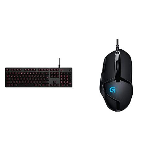 Logitech G413 Tastiera Gaming Meccanica, Tasti Retroilluminati, Switch Meccanici Romer-G Tactile & G402 Mouse Gaming Hyperion Fury, 4.000 Dpi, Design Leggero