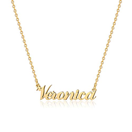 M MOOHAM Engraved Veronica Name Necklace - 18K Gold Filled Custom Name Necklace Personalized Name Necklaces for Women Girls Kids, Monogram Plate Name Necklace Name Jewelry