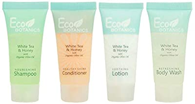 Eco Botanics 0.85 oz. Toiletries Set | 1-Shoppe All-In-Kit Amenities For Hotels, Airbnb & Rentals | Hotel Shampoo & Conditioner, Body Wash, Body Lotion | 80 Piece Travel Set