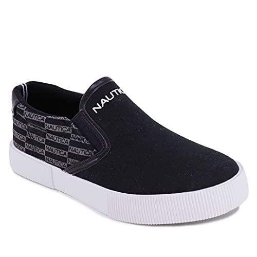 Nautica Akeley Youth Slip-On scarpe casual Canvas Sneaker, Logo in tela nera, 17 EU