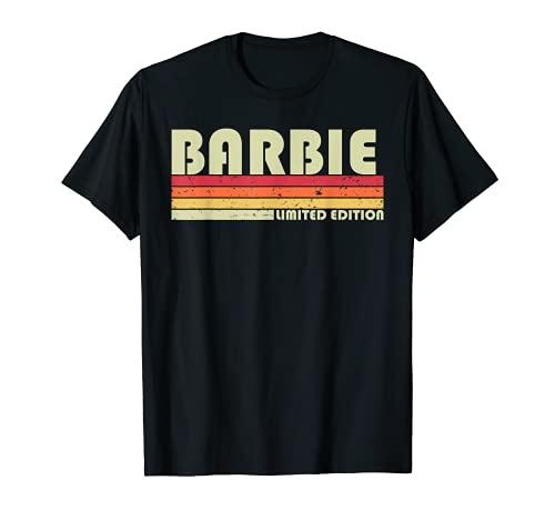 Barbie Nombre Personalizado Retro Vintage 80s 90s Cumpleaños Camiseta