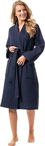 Morgenstern Bademantel für Damen aus Bio Baumwolle ohne Kapuze in Dunkelblau Sauna Bademantel wadenlang Haus Mantel Baumwolle Größe XL Paula