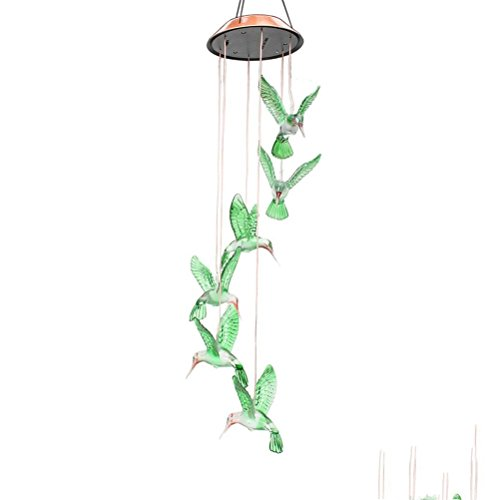 ledmomo Solar Wind Chime Licht Farbwechsel LED Kolibri Windspiel Licht für Home Party Night Garden Dekoration
