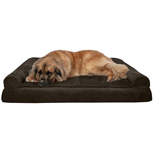 Furhaven Pet Dog Bed - Orthopedic Ultra Plush Faux Fur and Suede Traditional Sofa-Style Living Room Couch Pet Bed with Removable Cover for Dogs and Cats, Espresso, Jumbo Plus