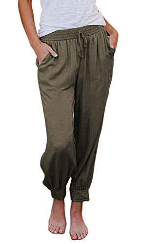 KIRUNDO 2021 Women's Jogger Long Pants Drawstring Elastic Waist Sweatpants Camouflage Lounge with Pockets(S-XL) (X-Large, B-Green)