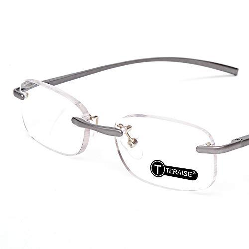 TERAISE Randloze leesbril Veerscharnierbril voor lezen met koffers voor heren en dames (3.5X)